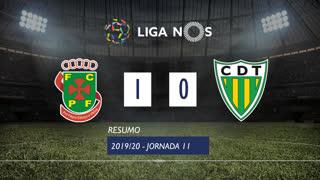 Liga NOS (11ªJ): Resumo FC P.Ferreira 1-0 CD Tondela