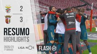 Liga NOS (7ªJ): Resumo Flash SL Benfica 2-3 SC Braga
