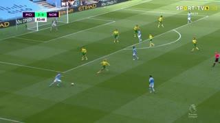 GOLO! Man. City, R. Mahrez aos 83', Man. City 4-0 Norwich