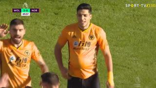 GOLO! Wolverhampton, R. Jiménez aos 50', Wolverhampton 3-0 Norwich