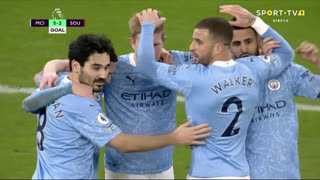 GOLO! Man. City, K. De Bruyne aos 59', Man. City 5-2 Southampton