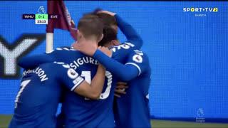GOLO! Everton, D. Calvert-Lewin aos 24', West Ham 0-1 Everton