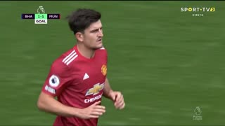 GOLO! Man. United, H. Maguire aos 43', Brighton 1-1 Man. United