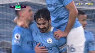 GOLO! Man. City, I. Gündogan aos 90', Man. City 2-0 Aston Villa