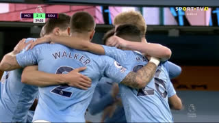 GOLO! Man. City, R. Mahrez aos 40', Man. City 2-1 Southampton