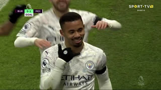 GOLO! Man. City, Gabriel Jesus aos 3', Burnley 0-1 Man. City