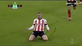 GOLO! Sheffield United, O. McBurnie aos 26', Sheffield United 1-1 Leicester City