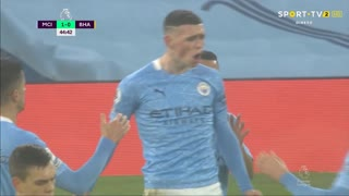 GOLO! Man. City, P. Foden aos 44', Man. City 1-0 Brighton