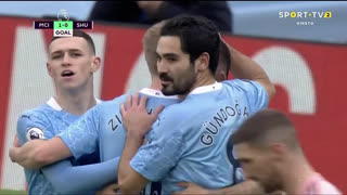 GOLO! Man. City, Gabriel Jesus aos 9', Man. City 1-0 Sheffield United