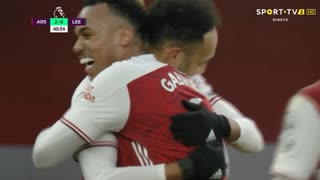 GOLO! Arsenal, P. Aubameyang aos 41', Arsenal 2-0 Leeds United