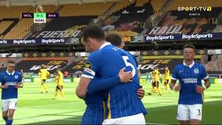 GOLO! Brighton, L. Dunk aos 13', Wolverhampton 0-1 Brighton