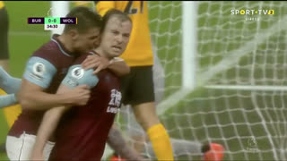GOLO! Burnley, A. Barnes aos 35', Burnley 1-0 Wolverhampton