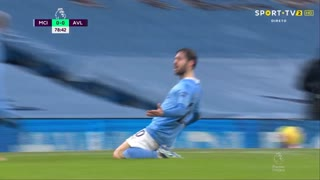 GOLO! Man. City, Bernardo Silva aos 79', Man. City 1-0 Aston Villa