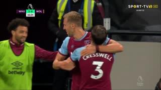 GOLO! West Ham, T. Souček aos 66', West Ham 3-0 Wolverhampton