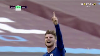 GOLO! Chelsea, T. Werner aos 43', West Ham 0-1 Chelsea