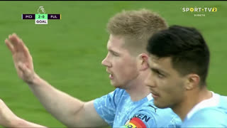 GOLO! Man. City, K. De Bruyne aos 26', Man. City 2-0 Fulham