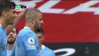 GOLO! Man. City, K. Walker aos 28', Sheffield United 0-1 Man. City