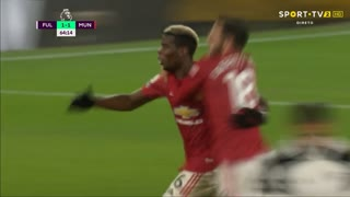 GOLO! Man. United, P. Pogba aos 65', Fulham 1-2 Man. United