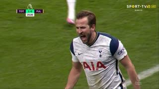 GOLO! Tottenham, H. Kane aos 25', Tottenham 1-0 Fulham