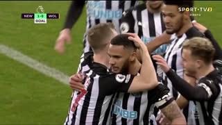 GOLO! Newcastle, J. Lascelles aos 52', Newcastle 1-0 Wolverhampton