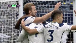 GOLO! Tottenham, H. Kane aos 8', Tottenham 2-0 West Ham