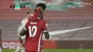 GOLO! Liverpool, S. Mané aos 28', Liverpool 1-1 Arsenal
