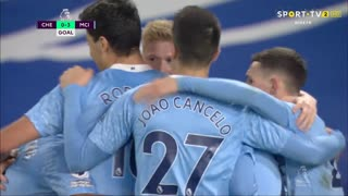 GOLO! Man. City, K. De Bruyne aos 34', Chelsea 0-3 Man. City