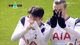 GOLO! Tottenham, G. Bale aos 2', Tottenham 1-0 Burnley