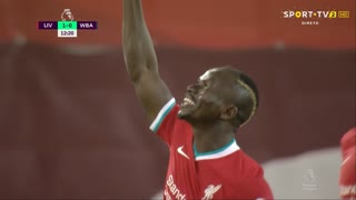 GOLO! Liverpool, S. Mané aos 12', Liverpool 1-0 West Bromwich Albion