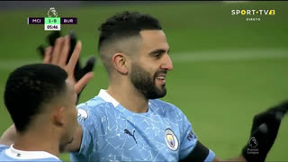 GOLO! Man. City, R. Mahrez aos 6', Man. City 1-0 Burnley