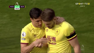 GOLO! Burnley, J. Tarkowski aos 50', Man. United 1-1 Burnley