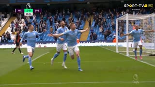 GOLO! Man. City, K. De Bruyne aos 11', Man. City 1-0 Everton