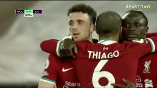 GOLO! Liverpool, Diogo Jota aos 45'+2', Wolverhampton 0-1 Liverpool
