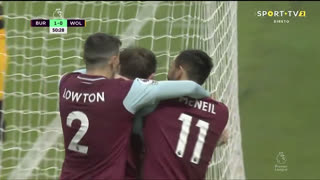 GOLO! Burnley, C. Wood aos 51', Burnley 2-0 Wolverhampton
