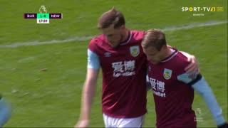 GOLO! Burnley, M. Vydra aos 18', Burnley 1-0 Newcastle