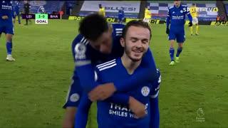 GOLO! Leicester City, J. Maddison aos 44', Leicester City 3-0 Brighton