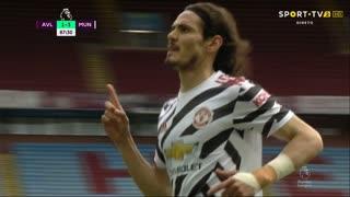 GOLO! Man. United, E. Cavani aos 87', Aston Villa 1-3 Man. United