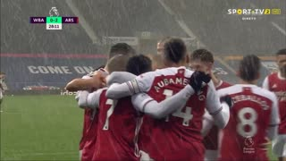 GOLO! Arsenal, B. Saka aos 28', West Bromwich Albion 0-2 Arsenal