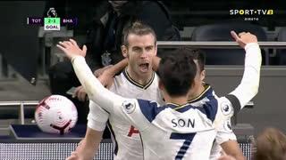 GOLO! Tottenham, G. Bale aos 73', Tottenham 2-1 Brighton