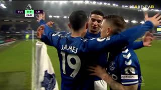 GOLO! Everton, James Rodríguez aos 30', Everton 1-0 Leicester City