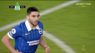 GOLO! Brighton, N. Maupay aos 46', Brighton 2-3 Wolverhampton