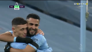 GOLO! Man. City, R. Mahrez aos 69', Man. City 5-0 Burnley