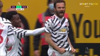 GOLO! Man. United, Mata aos 45'+4', Wolverhampton 1-2 Man. United