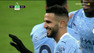 GOLO! Man. City, R. Mahrez aos 22', Man. City 2-0 Burnley