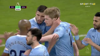 GOLO! Man. City, K. De Bruyne aos 15', Man. City 1-0 Southampton