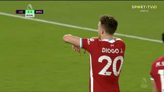 GOLO! Liverpool, Diogo Jota aos 85', Liverpool 2-1 West Ham