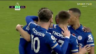 GOLO! Leicester City, J. Vardy aos 15', Leicester City 1-0 Wolverhampton