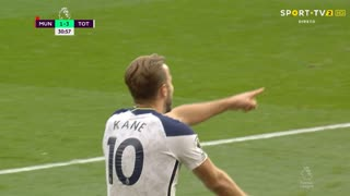 GOLO! Tottenham, H. Kane aos 30', Man. United 1-3 Tottenham