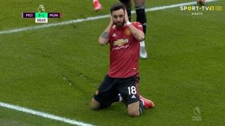 GOLO! Man. United, Bruno Fernandes aos 2', Man. City 0-1 Man. United