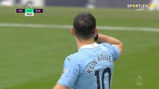 GOLO! Man. City, Aguero aos 71', Man. City 4-0 Everton